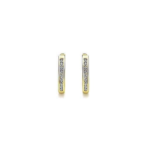14k Yellow Gold Huggies Huggie Earrings angle 3
