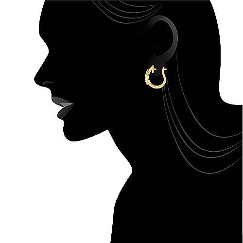 14k Yellow Gold Huggies Huggie Earrings angle 4