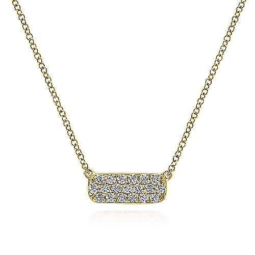 14k Yellow Gold Indulgence Bar Necklace angle 1