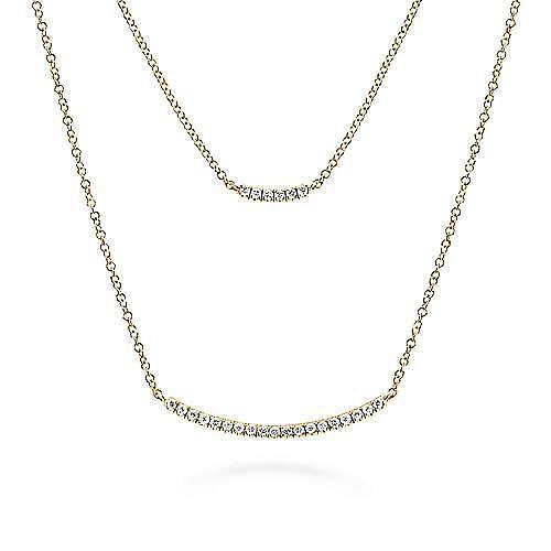 14k Yellow Gold Indulgence Bar Necklace angle 2
