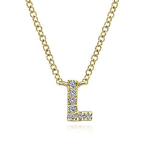14k Yellow Gold Initial Necklace angle 1