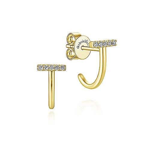 14k Yellow Gold J Curve Diamond Bar Earrings