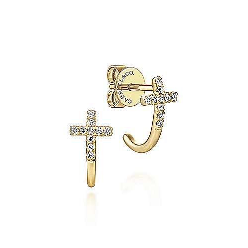 14k Yellow Gold J Curve Diamond Cross Earrings
