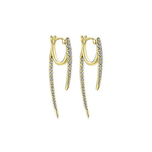 14k Yellow Gold Kaslique Drop Earrings angle 3