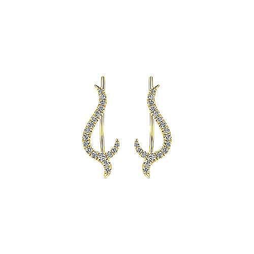 14k Yellow Gold Kaslique Ear Climber Earrings