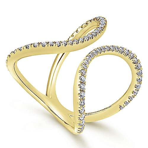 14k Yellow Gold Kaslique Fashion Ladies' Ring angle 3