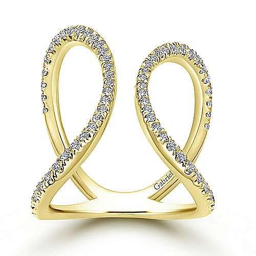 14k Yellow Gold Kaslique Fashion Ladies' Ring angle 4