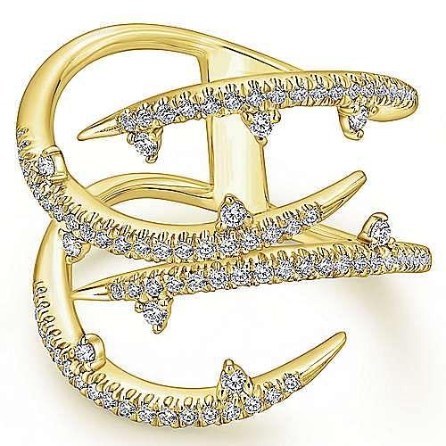 14k Yellow Gold Kaslique Fashion Ladies' Ring angle 1