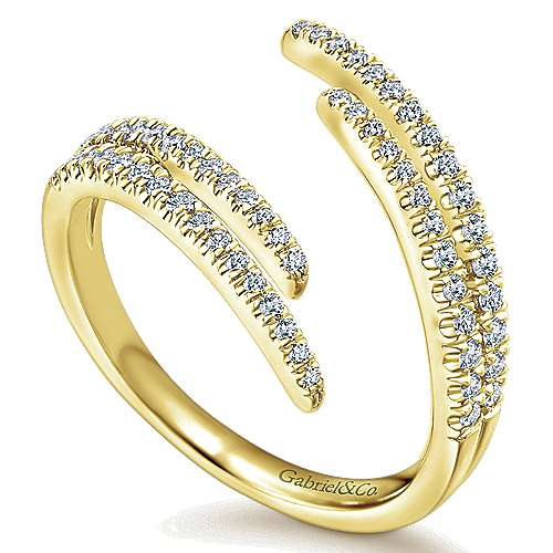 14k Yellow Gold Kaslique Fashion Ladies' Ring angle 3