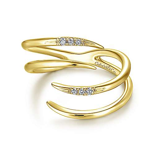 14k Yellow Gold Kaslique Fashion Ladies Ring