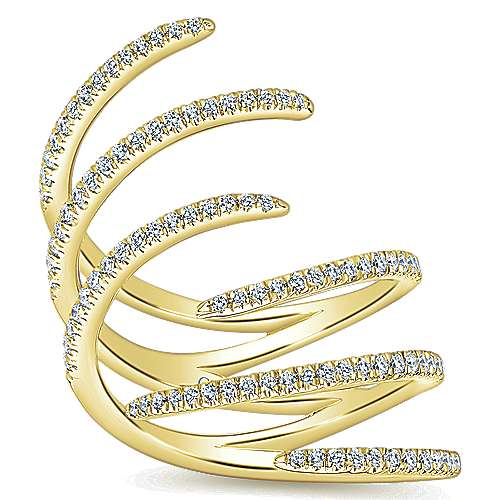 14k Yellow Gold Kaslique Statement Ladies' Ring angle 4
