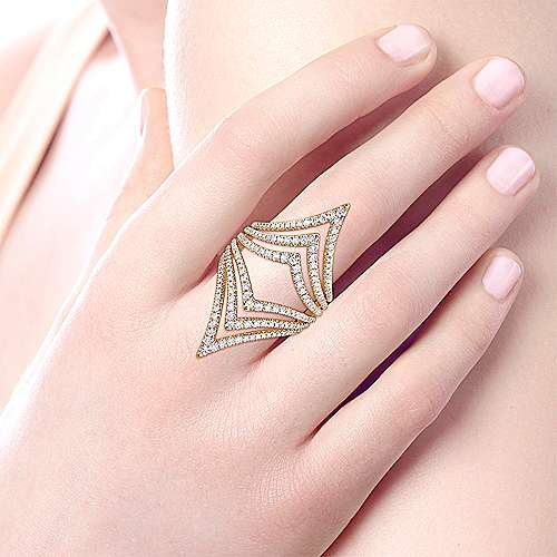 14k Yellow Gold Kaslique Statement Ladies Ring