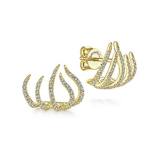 14k Yellow Gold Kaslique Stud Earrings angle 1