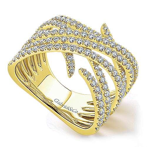 14k Yellow Gold Kaslique Twisted Ladies' Ring angle 3