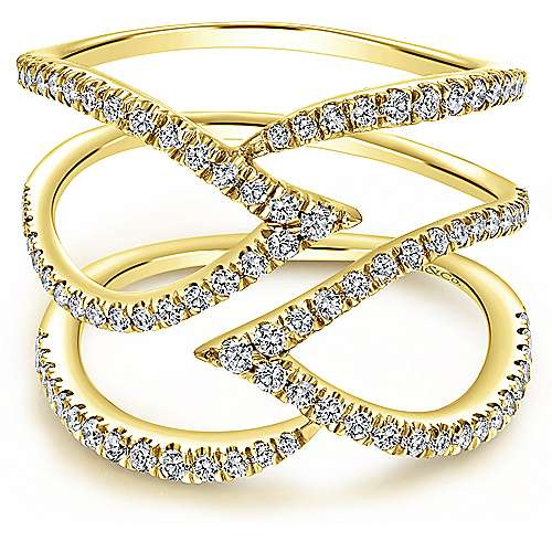 14k Yellow Gold Kaslique Wide Band Ladies' Ring angle 1