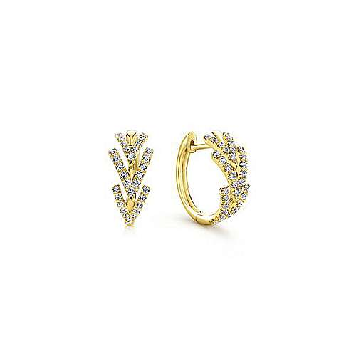 Gabriel - 14k Yellow Gold Klaslique Huggie Earrings