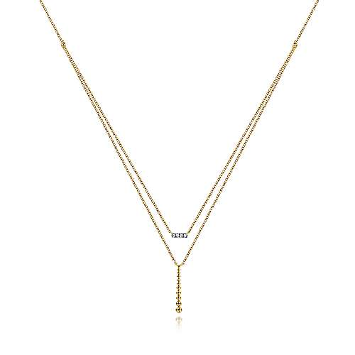 14k Yellow Gold Layered Dainty Diamond Bar Fashion Necklace