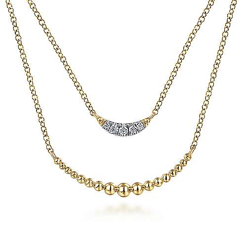14k Yellow Gold Layered Diamond Crescent Fashion Necklace