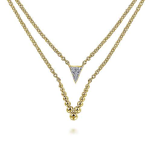 Gabriel - 14k Yellow Gold Layered Diamond Triangle Fashion Necklace