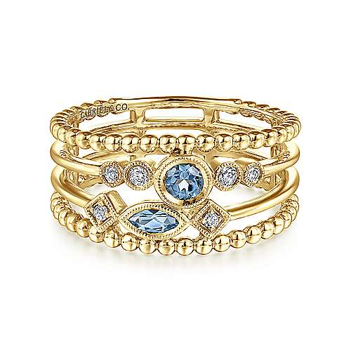 14k Yellow Gold Layered Swiss Blue Topaz and Diamond Ladies Ring