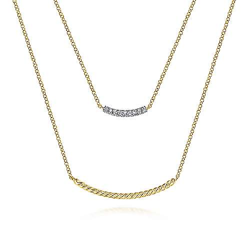 14k Yellow Gold Layered Twisted Diamond Bar Necklace
