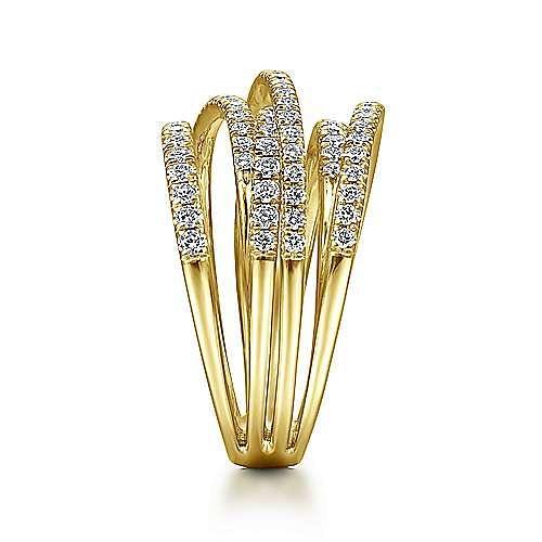 14k Yellow Gold Layered Wide Band Diamond Ring