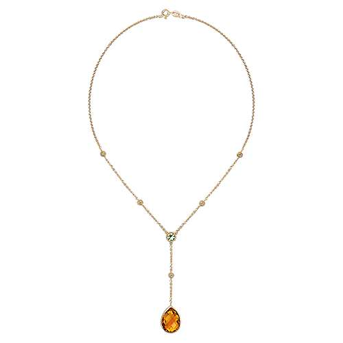 14k Yellow Gold Lusso Color Lariat Necklace angle 2