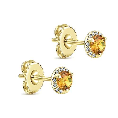 14k Yellow Gold Lusso Color Stud Earrings angle 2