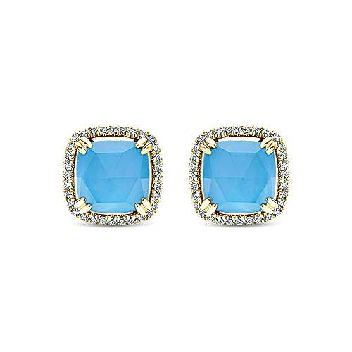 14k Yellow Gold Lusso Color Stud Earrings
