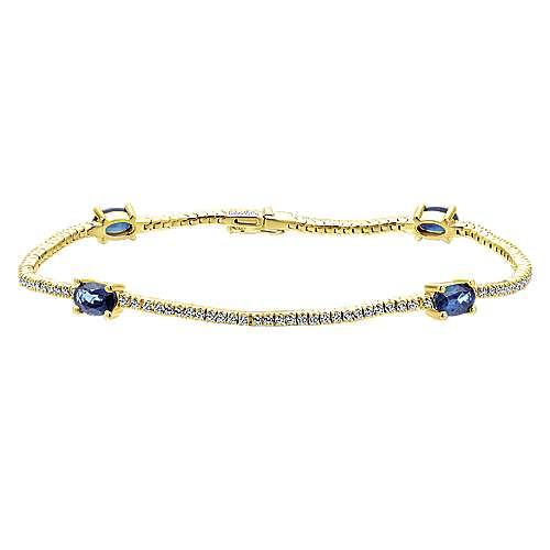 14k Yellow Gold Lusso Color Tennis Bracelet angle 1