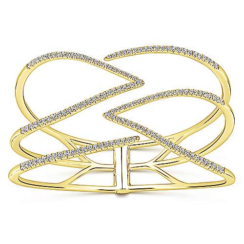 14k Yellow Gold Lusso Diamond Bangle angle 1