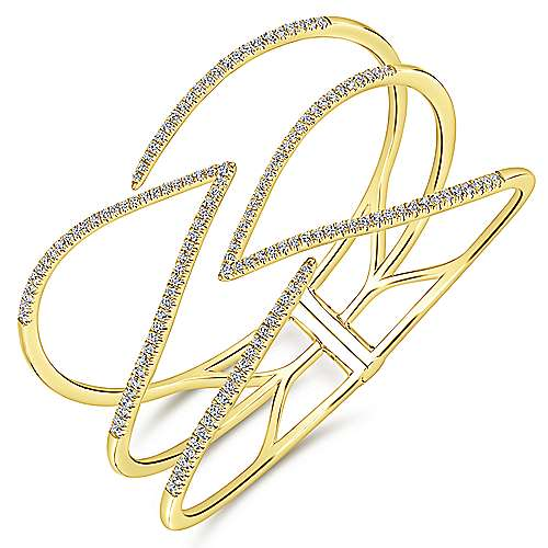 14k Yellow Gold Lusso Diamond Bangle angle 2