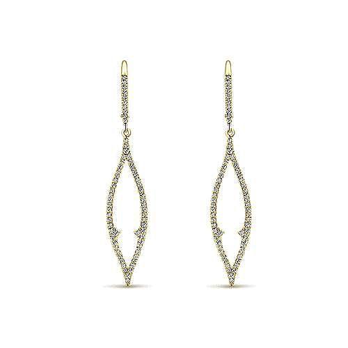 14k Yellow Gold Lusso Diamond Drop Earrings angle 1