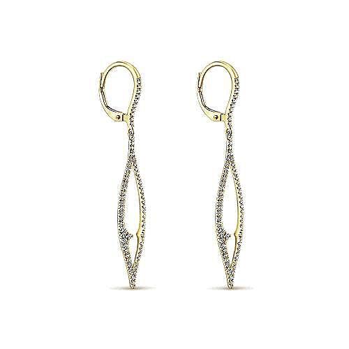 14k Yellow Gold Lusso Diamond Drop Earrings angle 2