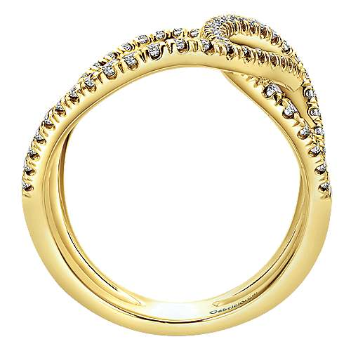 14k Yellow Gold Lusso Diamond Fashion Ladies' Ring angle 2