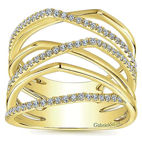 14k Yellow Gold Lusso Diamond Fashion Ladies' Ring angle 4