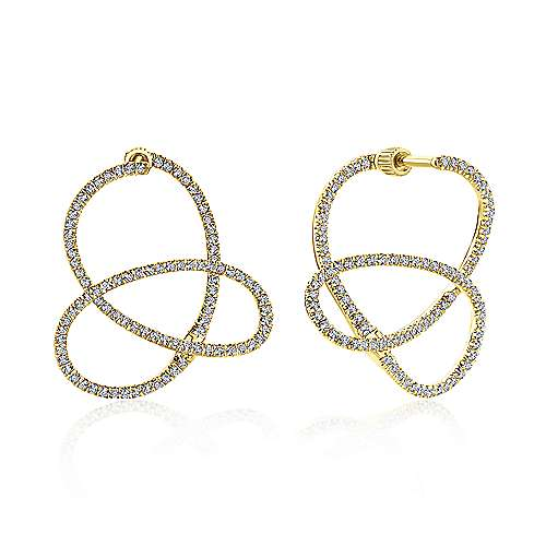 14k Yellow Gold Lusso Diamond Intricate Hoop Earrings angle 1