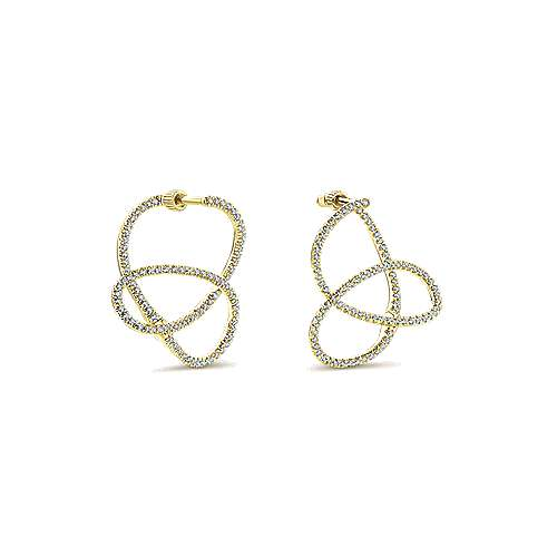 14k Yellow Gold Lusso Diamond Intricate Hoop Earrings angle 3