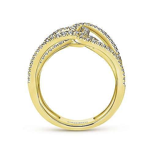 14k Yellow Gold Lusso Diamond Statement Ladies' Ring angle 2