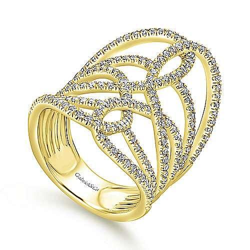 14k Yellow Gold Lusso Diamond Statement Ladies' Ring angle 3