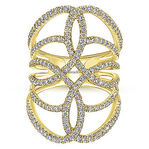 14k Yellow Gold Lusso Diamond Statement Ladies' Ring angle 4