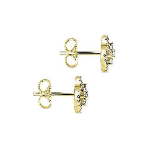 14k Yellow Gold Lusso Diamond Stud Earrings angle 3