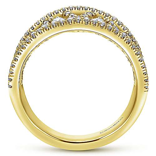 14k Yellow Gold Lusso Diamond Wide Band Ladies' Ring angle 2
