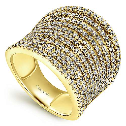 14k Yellow Gold Lusso Diamond Wide Band Ladies' Ring angle 3