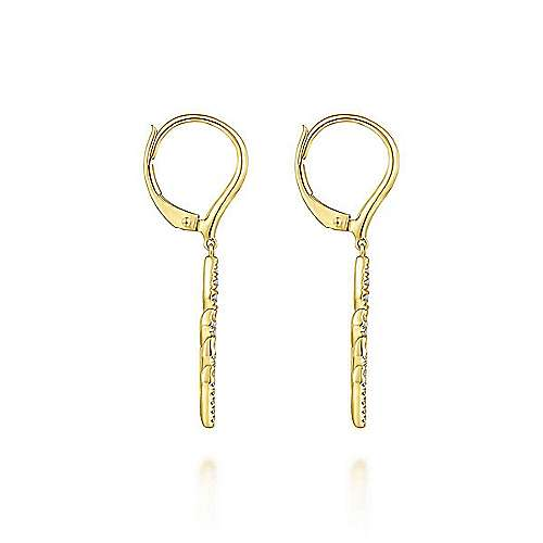 14k Yellow Gold Lusso Drop Earrings angle 3