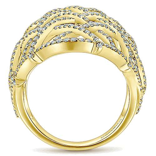 14k Yellow Gold Lusso Fashion Ladies' Ring angle 2