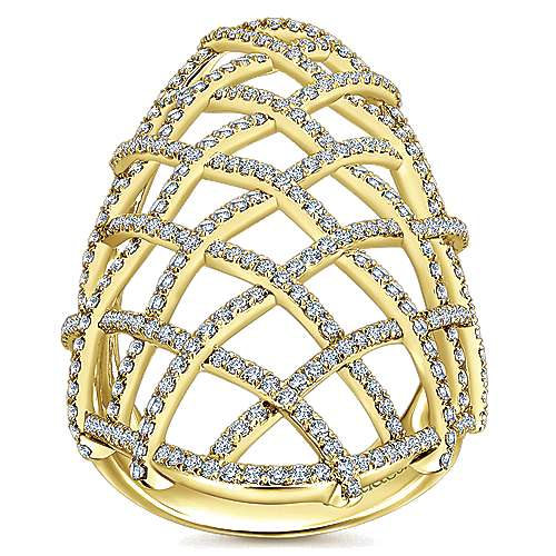 14k Yellow Gold Lusso Fashion Ladies' Ring angle 4
