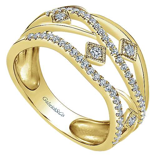 14k Yellow Gold Lusso Fashion Ladies' Ring angle 3