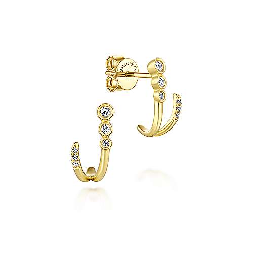 Gabriel - 14k Yellow Gold Lusso J Curve Earrings
