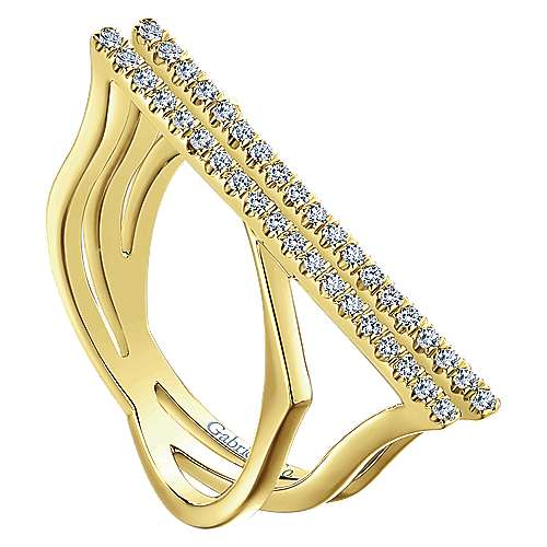 14k Yellow Gold Lusso Twisted Ladies' Ring angle 3